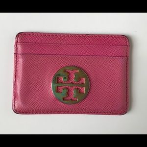 Tory Burch Pink Leather Credit Card Holder